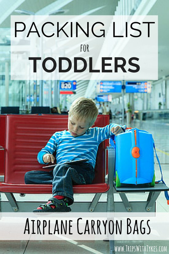 Toddler Packing List for Airplane Carryon Bags: Essential items for your toddler's carryon bag for your next airplane flight. Thinks to keep your toddler entertained, fed, happy, and quiet!
