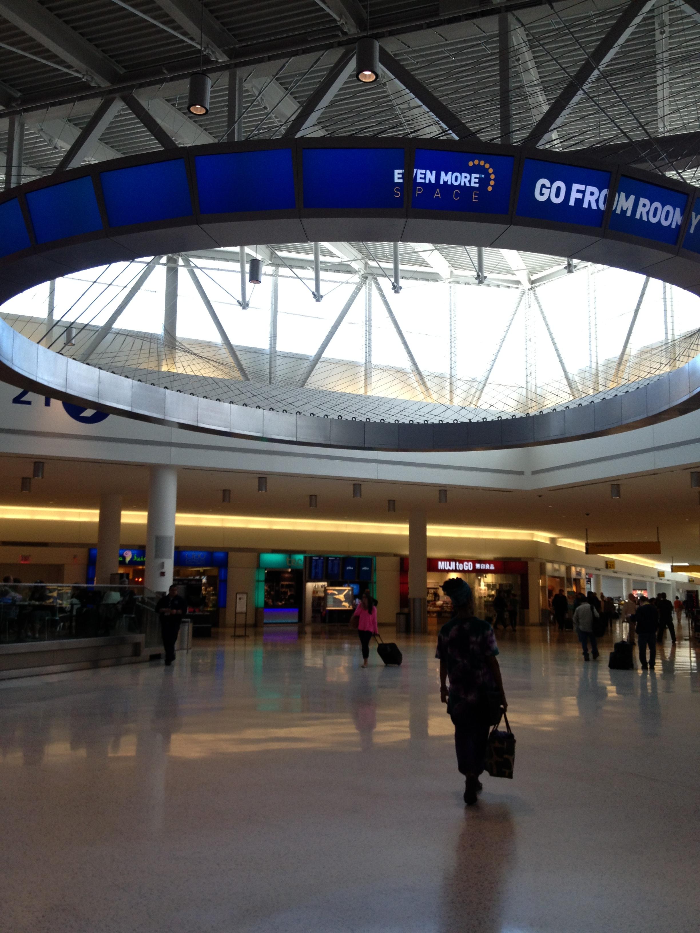 The main atrium in JetBlue's JFK terminal.