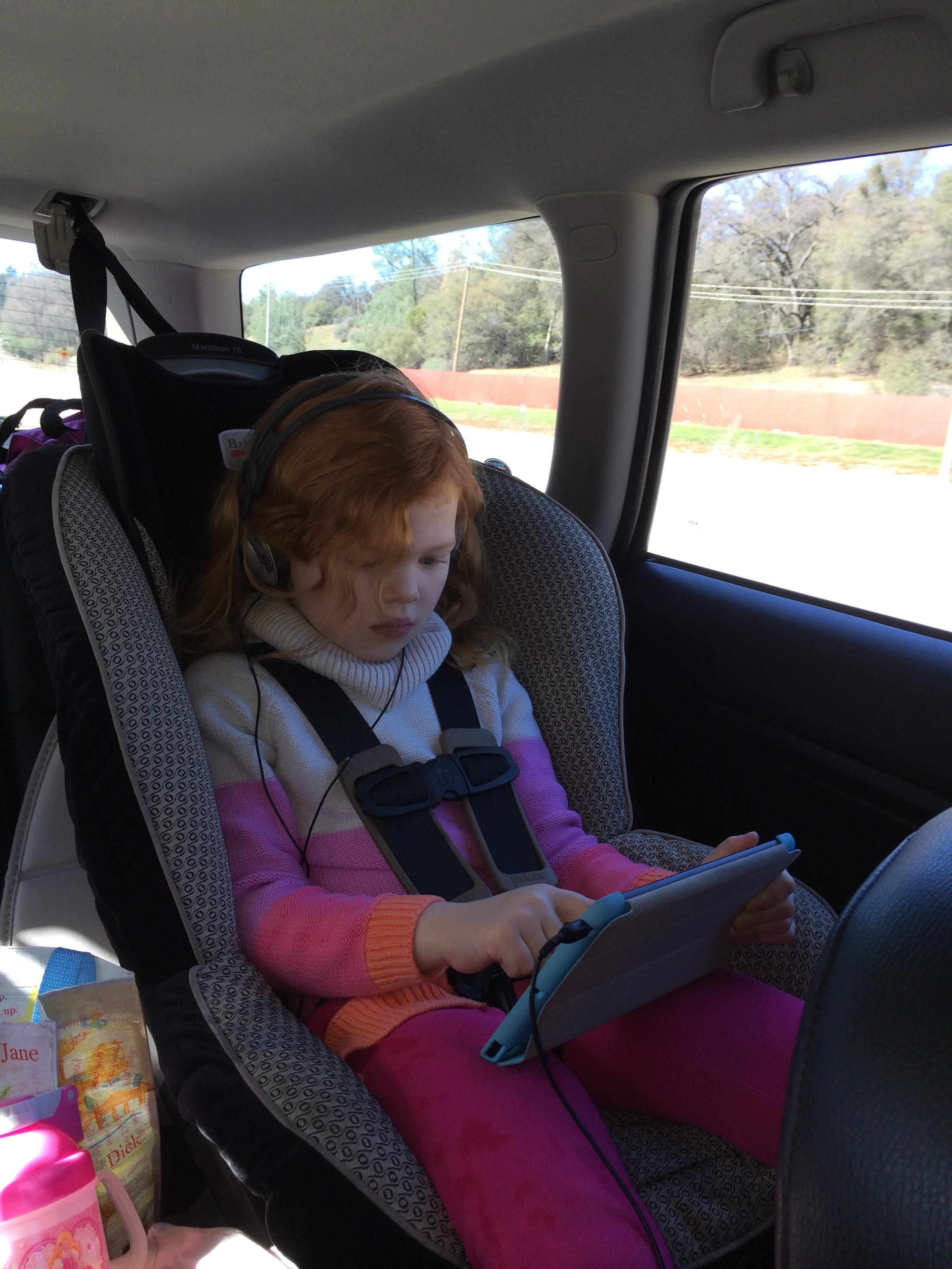 Happily entertained on the drive.