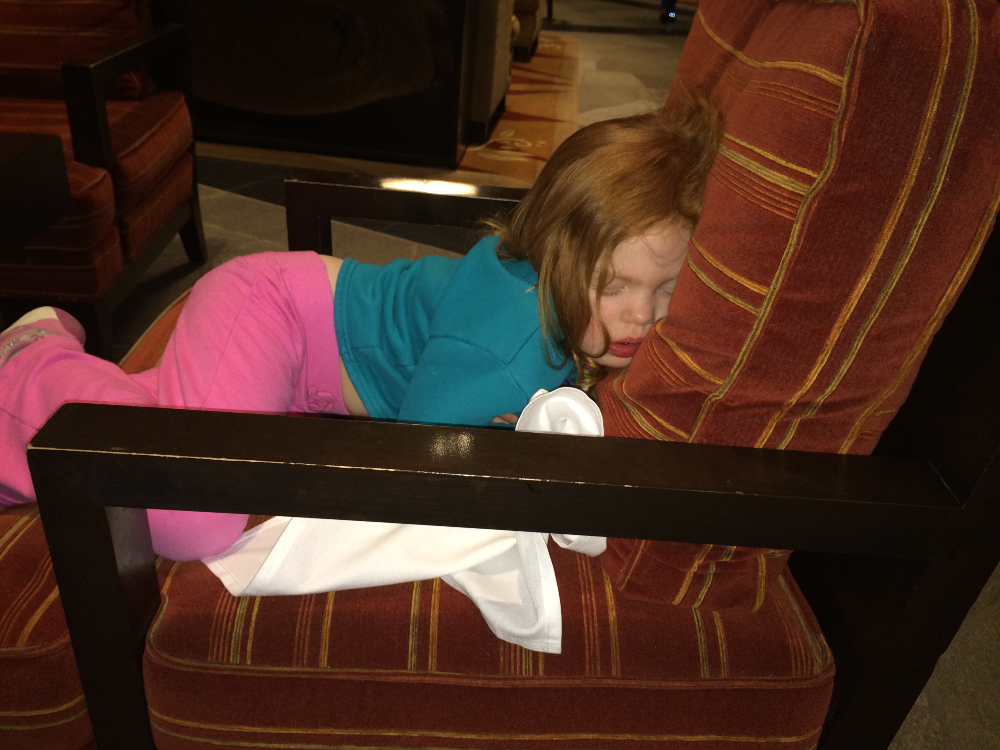 Conked out at dinner, thanks to a full day on the slopes.