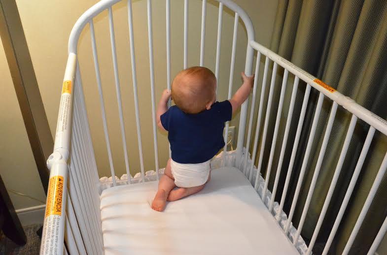Sleep and Naps Baby in Hotel Crib