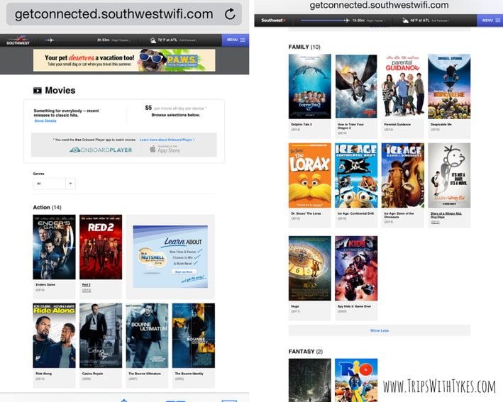 Southwest Airlines In-Flight Entertainment: Movie choices