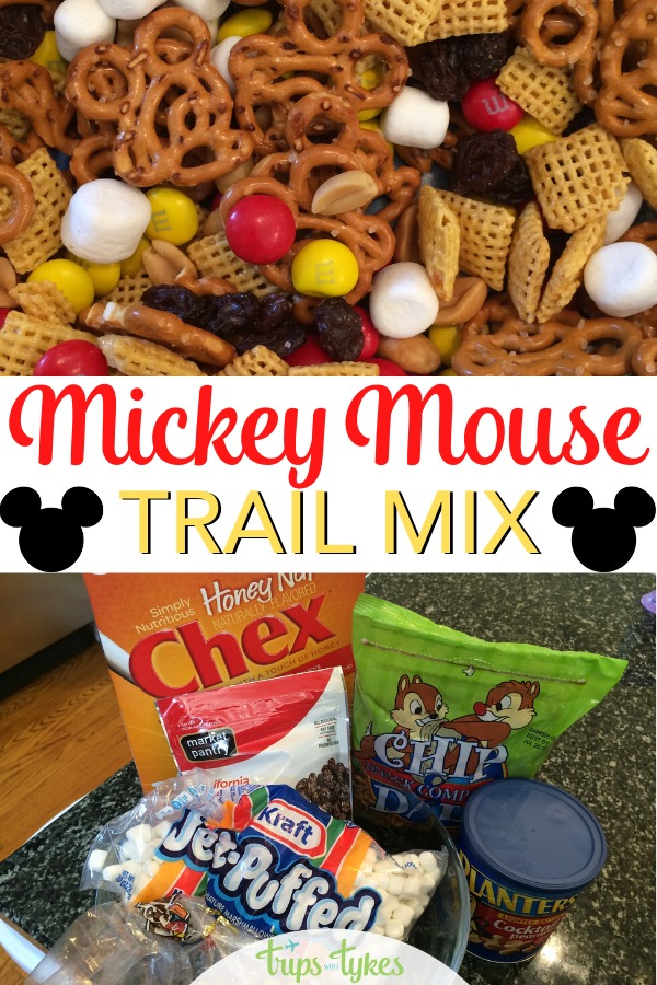 Need a Disney-inspired snack to pack for your next road trip or flight to Disneyland or Disney World? Try this simple sweet and salty Mickey Mouse trail mix.