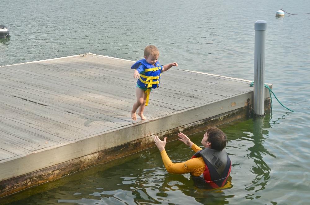 Lake Martin Alabama with Toddler Jumping in to Swim