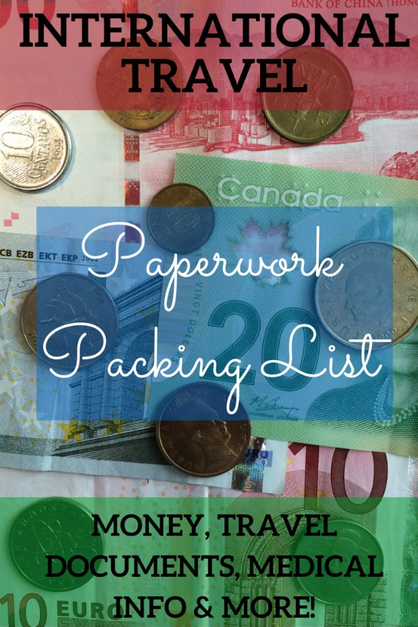 International Travel Paperwork Packing List