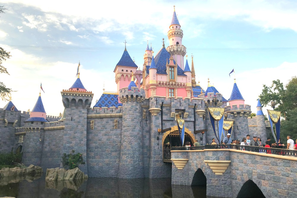 Flying to Disneyland - Sleeping Beauty Castle