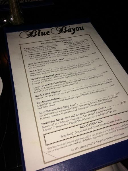 Disneyland Date Night - Blue Bayou Menu