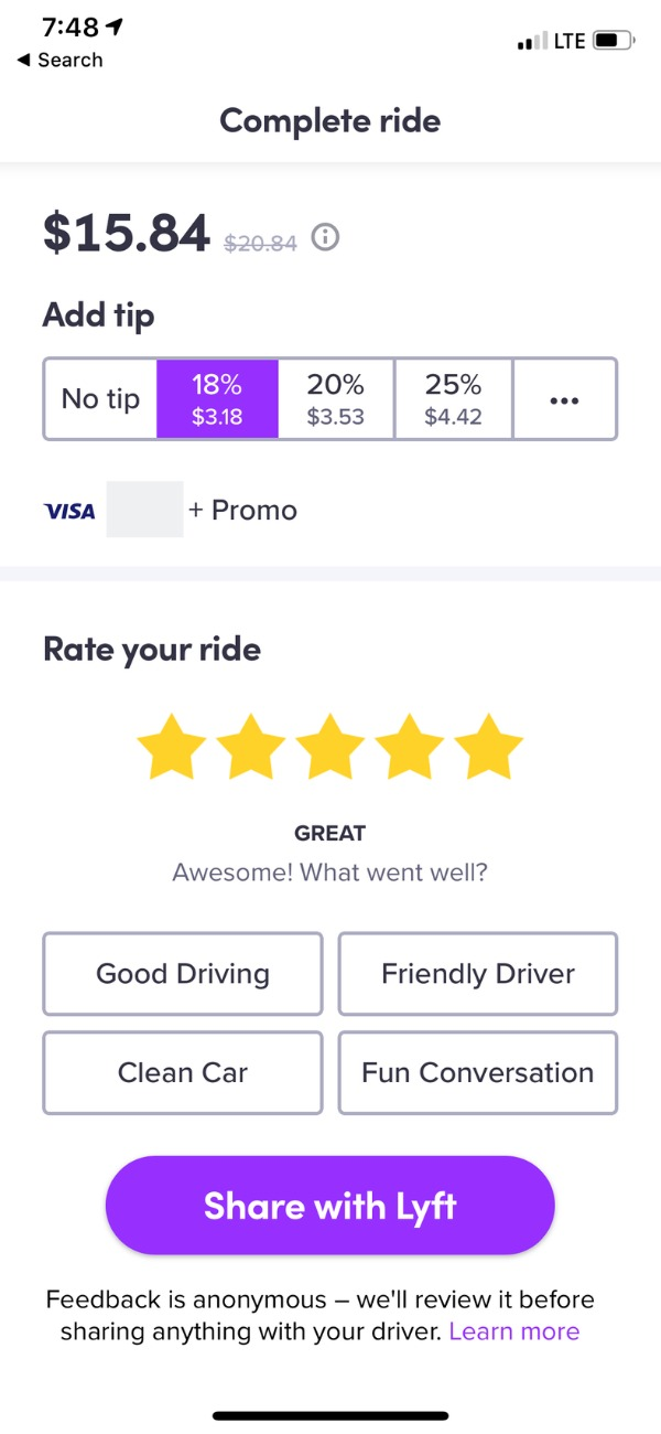 Lyft screenshot - tipping in app