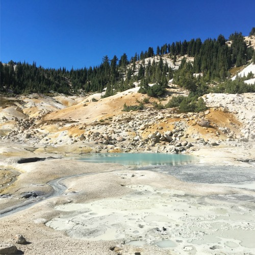 The bubbling sulfur pools at Bumpass Hell in Lassen Volcanic National Park in Northern California.