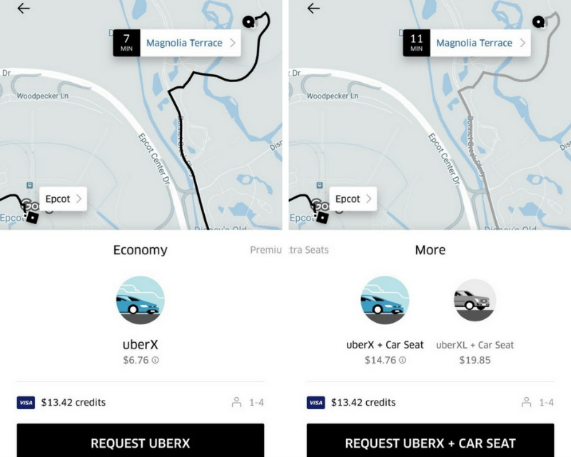 Uber Car Seat - Wait times vs Uberx