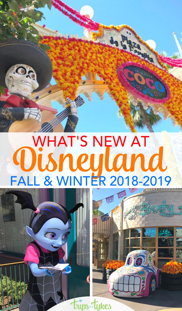 Visiting Disneyland in fall or winder 2018-2019? Get the scoop on everything new from Vampirina to expanded Coco and Dia de los Muertos celebrations. Plus, all about Disneyland at Christmas and rumored changes for 2019. #disneyland #disneycaliforniaadventure #halloweentime #disneyholidays