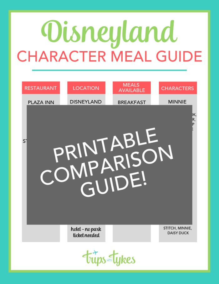 Disneyland Character Meal Comparison Guide