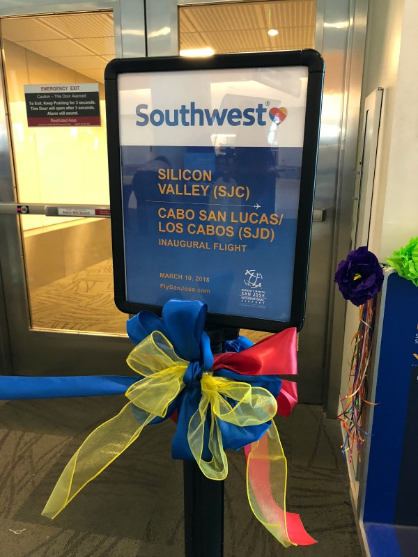 Southwest Inaugural Flight to Cabo - Sign Marking the Occasion