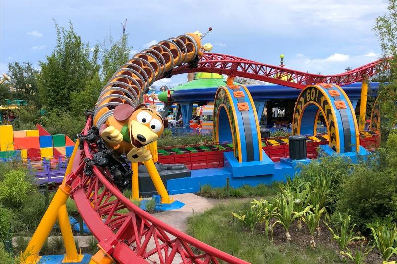 Toy Story Land Slinky Dog Dash Coaster around a turn