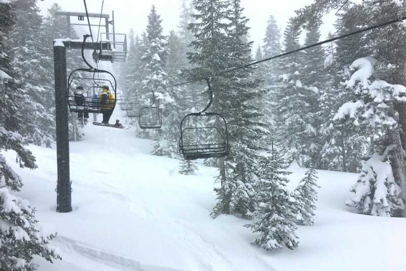 Winter Driving to Tahoe - Snow on Ski Slopes
