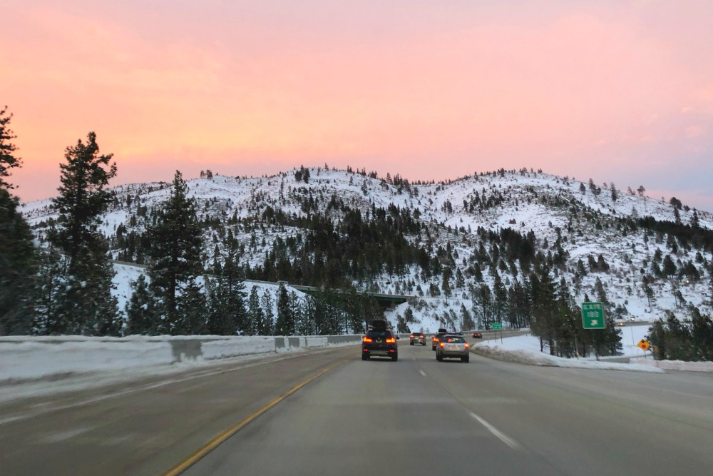 Winter Driving to Tahoe - Sunset Interstate 80