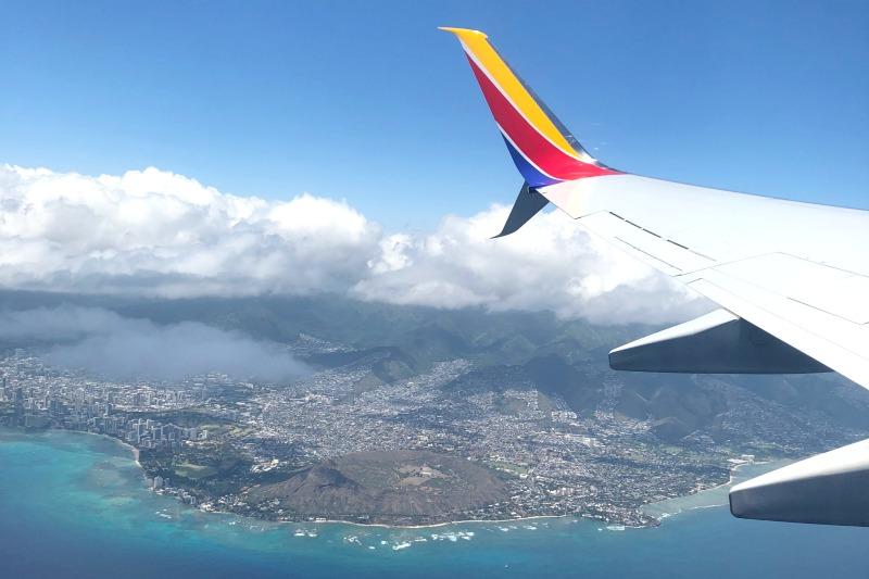 Southwest Hawaii Flight Review - Diamond Head Views from Plane