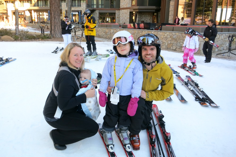 Family Friendly Ski Resorts - Kid Skiing with Parents and Baby