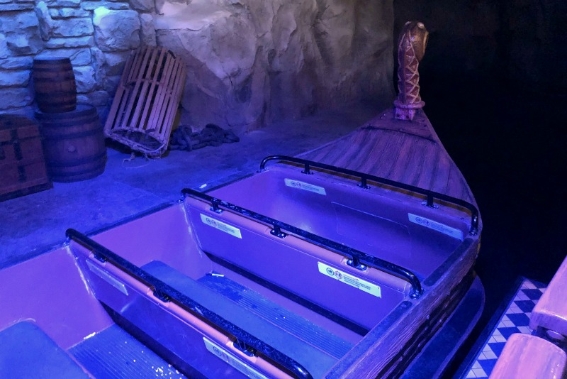 The Viking ship ride vehicle on Frozen Ever After