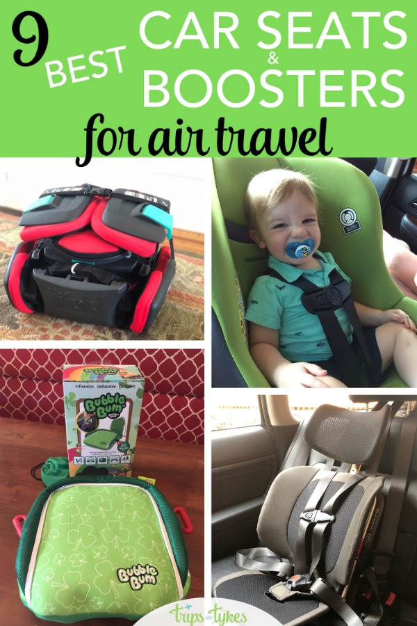 Flying with kids and worried about safe transport at your destination? These 9 car seats and boosters are compact, travel-friendly products perfect for Uber and Lyft rides, taxis, rental cars and more. Plus, many of them are FAA approved for airplane use or small enough to fit in the plane overhead bin! #carseat #airtravel #travelwithkids
