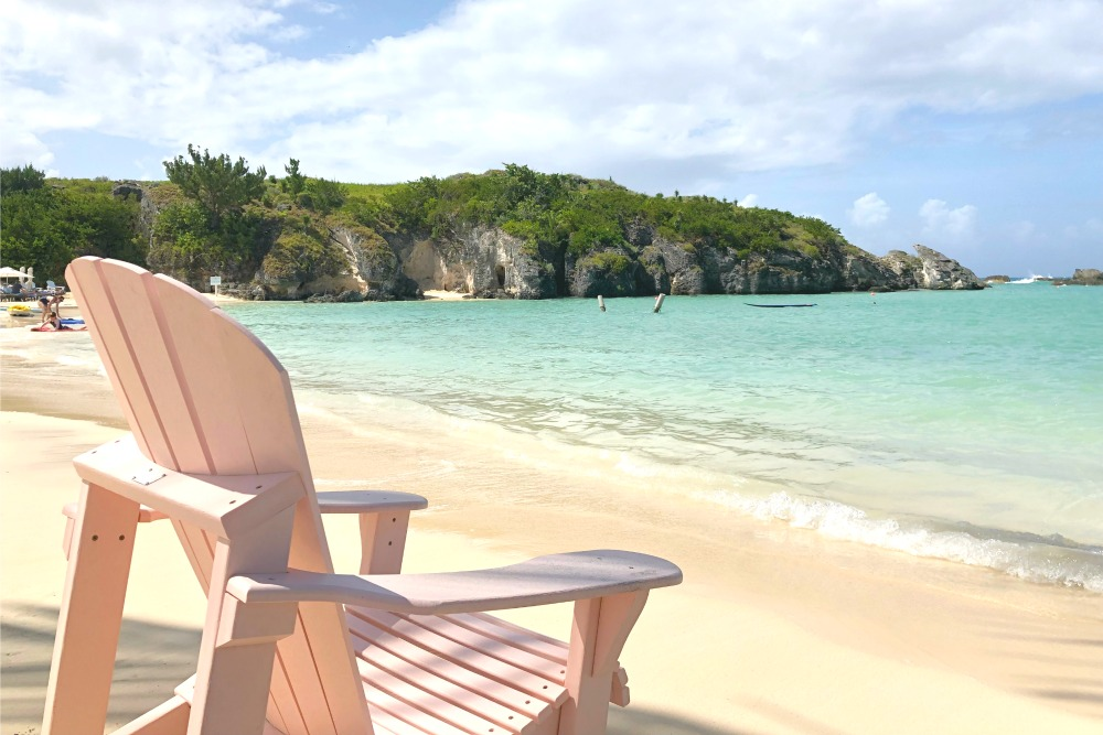 First Timers Guide to Bermuda - Princess Beach Club Millennial Pink Beach Chair