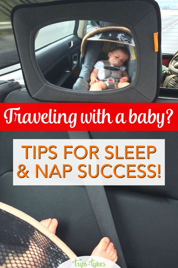 Traveling with a baby? Get tips for coping with the challenge of nap times and early bedtimes and still be able to see and do things at your travel destination. #familytravel #travelwithbaby