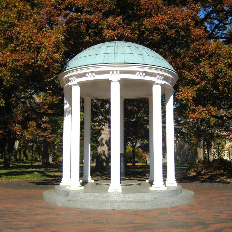 College Towns to Visit with Kids - UNC Old Well Chapel Hill NC