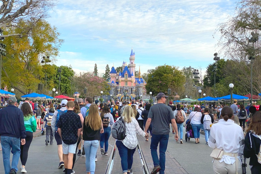 Disneyland Crowds Sleeping Beauty Castle