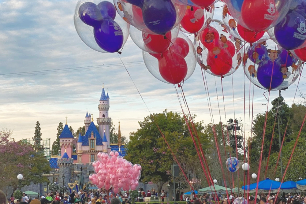 Disneyland castle with balloons
