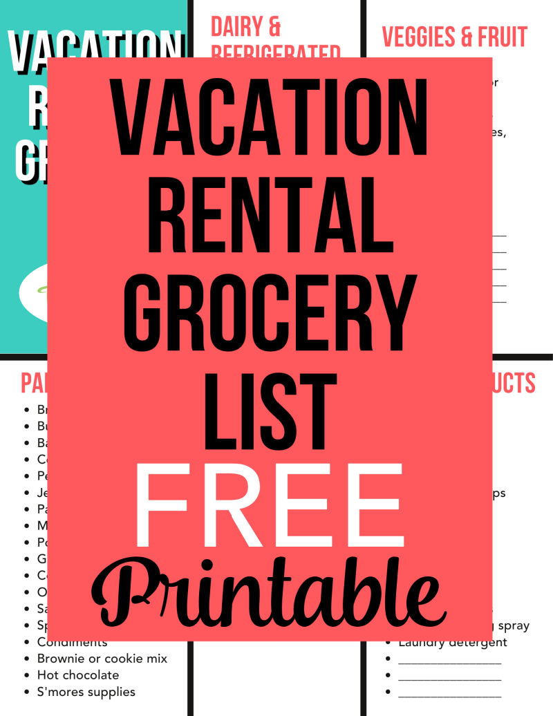 Don't want to spend your next vacation making multiple grocery store trips? Download this free printable vacation rental grocery shopping list so you can stock your Airbnb or VRBO rental unit successfully. Includes lots of tips to make meals and grocery prep easier during travel.