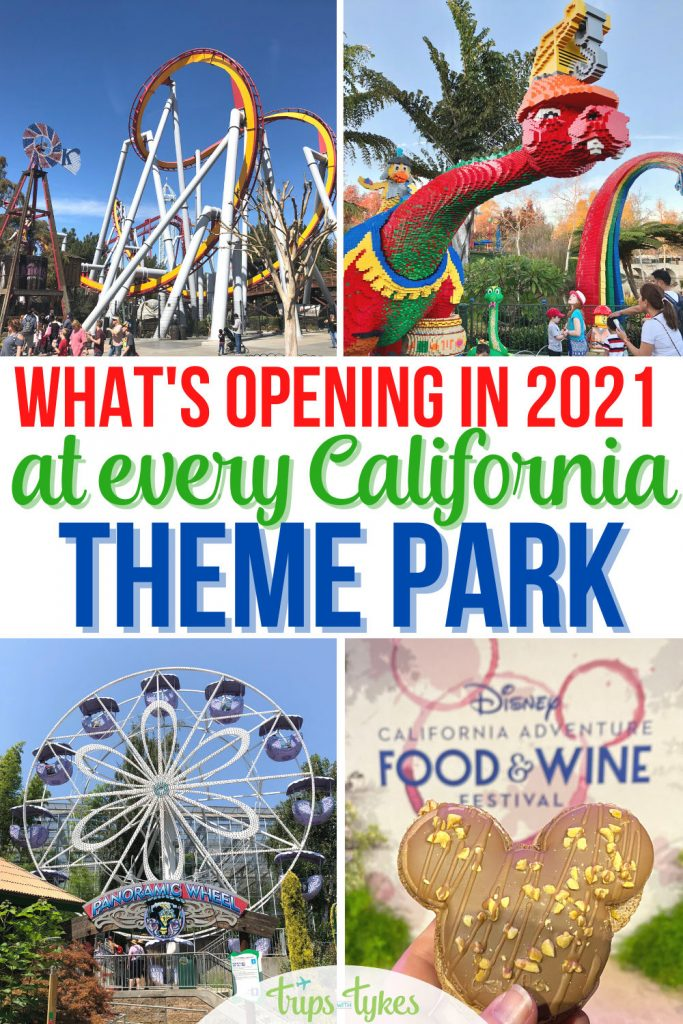 Collage of attractions at California's theme parks including roller coaster, Lego dinosaur, ferris wheel, and Disneyland food.
