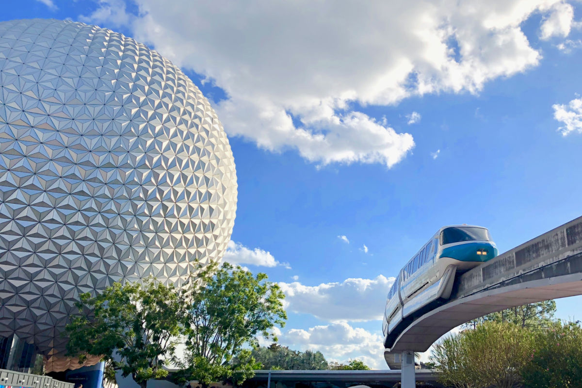 Epcot's Spaceship Earth and monorail
