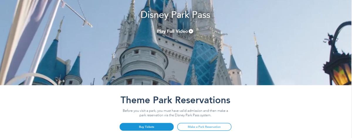 Screenshot of Disney World website with Disney park pass theme park reservations