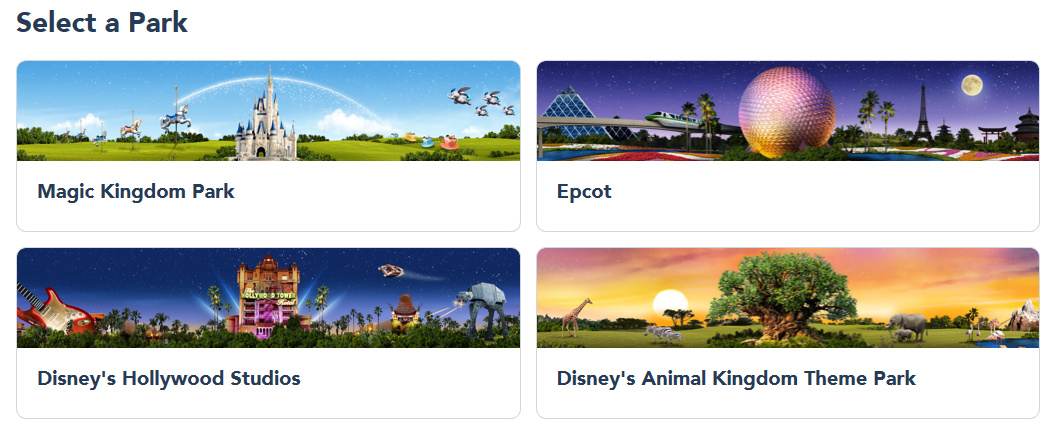 Screenshot of Disney World website with select park option for Disney park pass theme park reservations