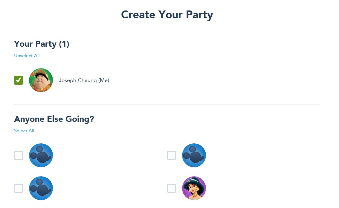 Screenshot of Disney World website with to create party for Disney park pass theme park reservations