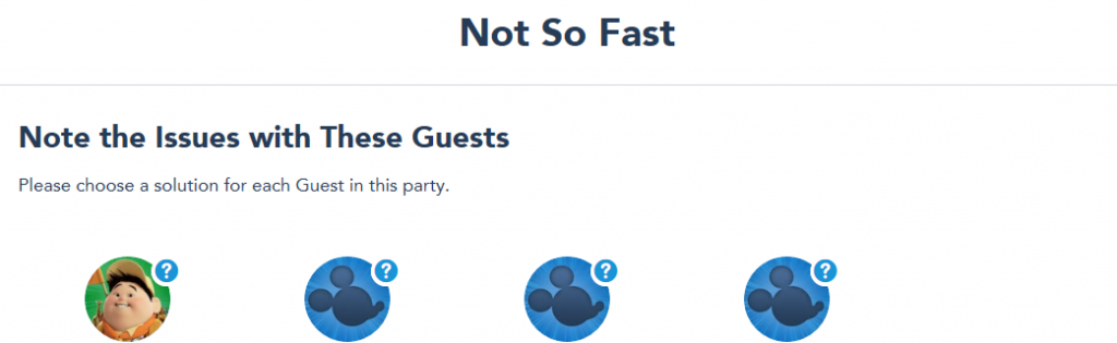 Screenshot of Disney World website with guest errors for Disney park pass theme park reservations