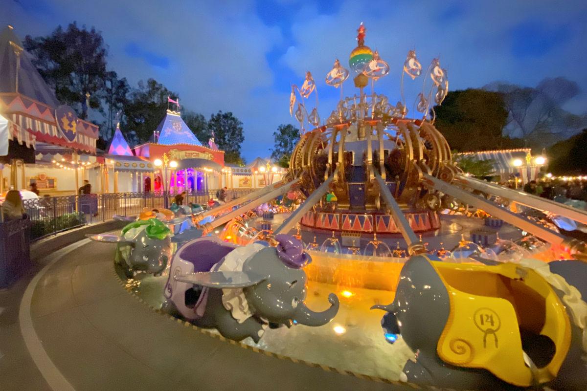 Dumbo at night in Disneyland Fantasyland