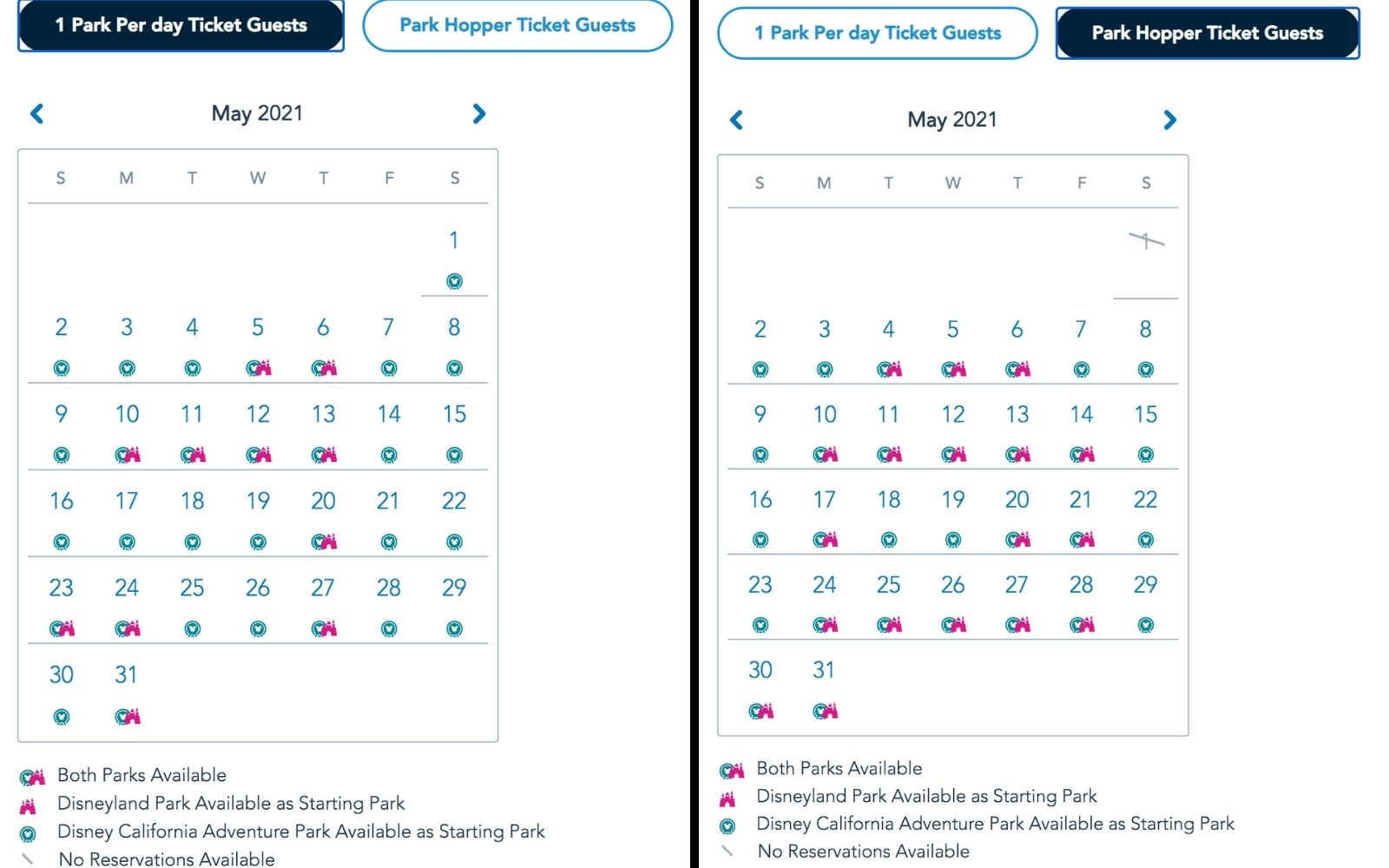 Disneyland May 2021 Park reservation availability calendar screenshot