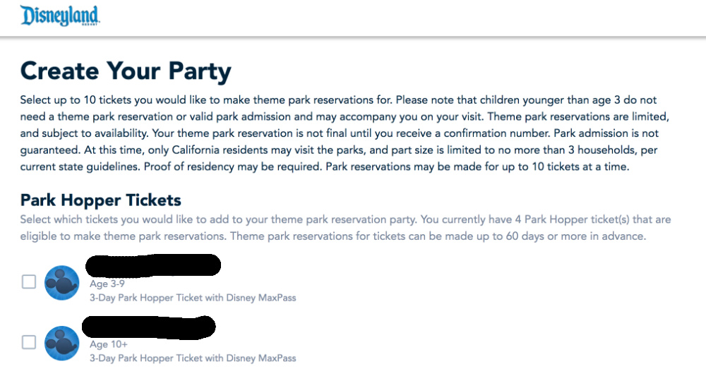 Disneyland Theme Park Reservations Create a Party Screenshot