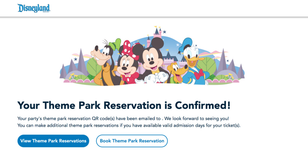 Disneyland Theme Park Reservations Confirmed Reservation Screenshot