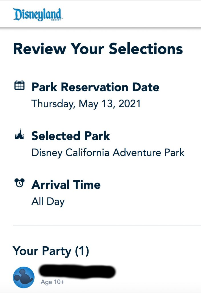 Disneyland Theme Park Reservations Review Your Selections Screenshot