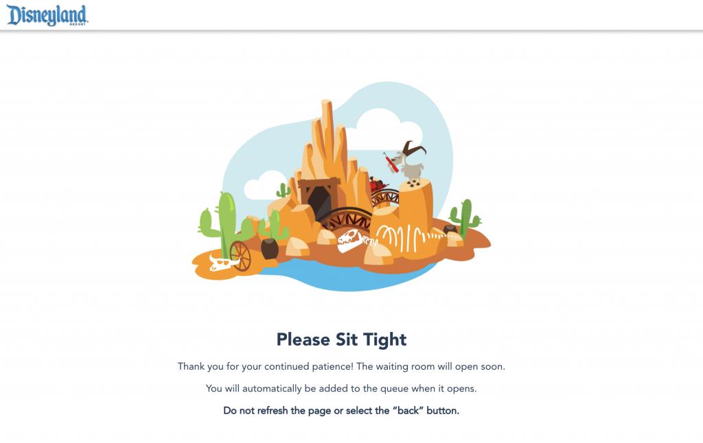 Disneyland Theme Park Reservations Waiting Room Screenshot