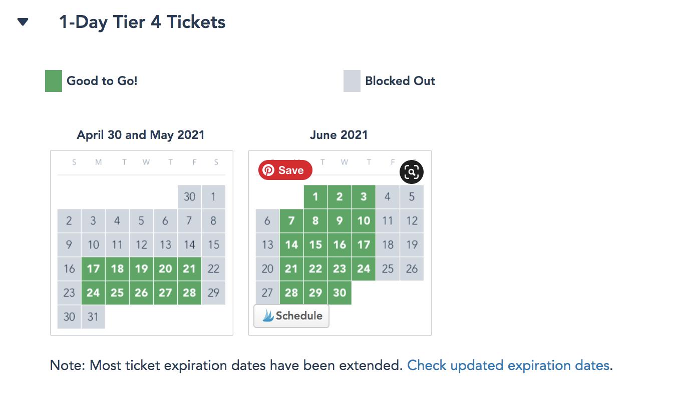 Disneyland Tier 4 Single Day Ticket Blockout Calendar