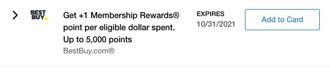 Screenshot of Amex Offer for Best Buy Membership Rewards Bonus