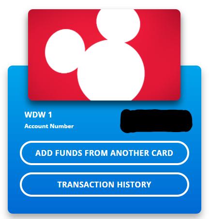 Screenshot of combining Disney gift card balances