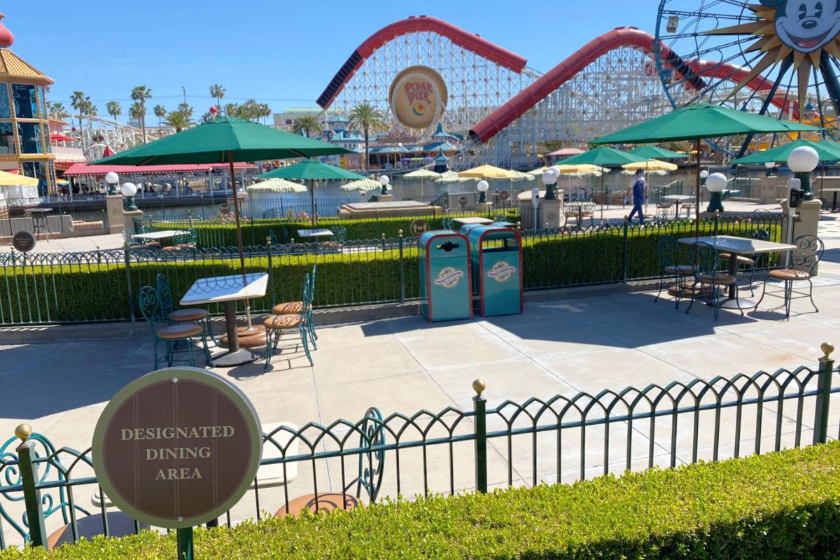 New dining area for 2021 along Pixar Pier in Disney's California Adventure park.