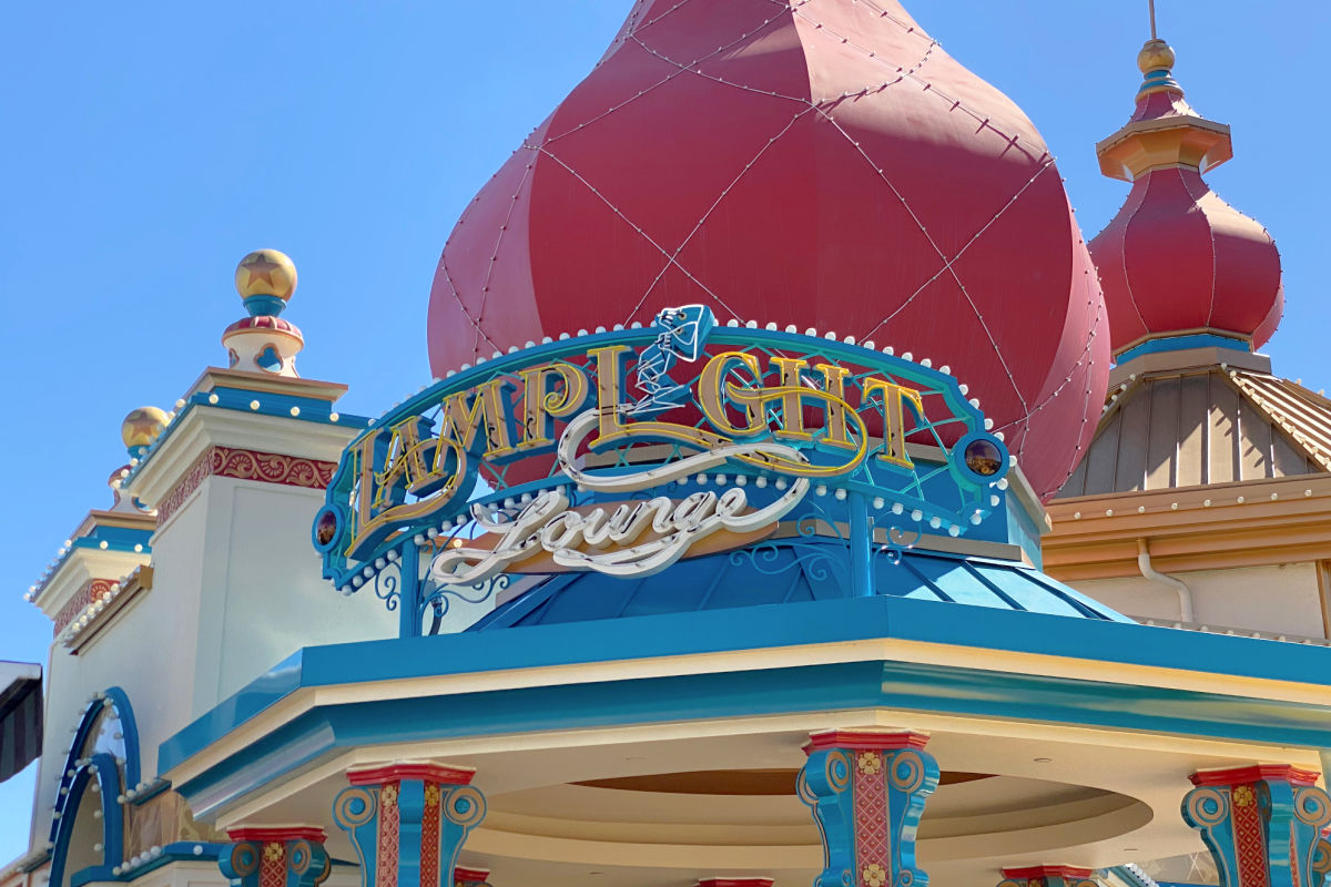 Pixar Pier Lamplight Lounge Sign in Disney California Adventure park