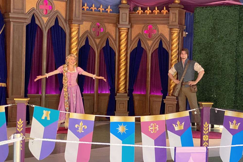 Disneyland Distanced Character Meet with Rapunzel and Flynn Rider in Royal Hall