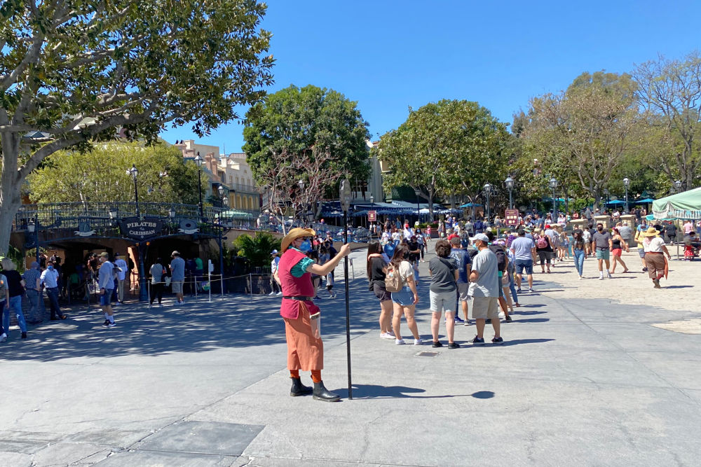 Disneyland's distanced line for Pirates of the Caribbean can block some walkways in New Orleans Square