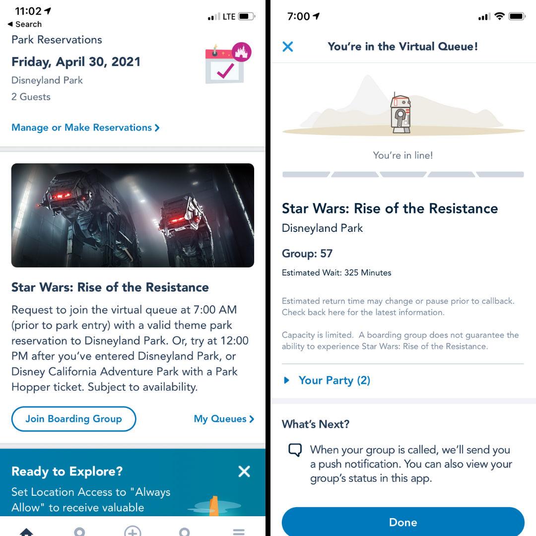 App screenshots showing new Disneyland Star Wars: Rise of the Resistance virtual queue in 2021.